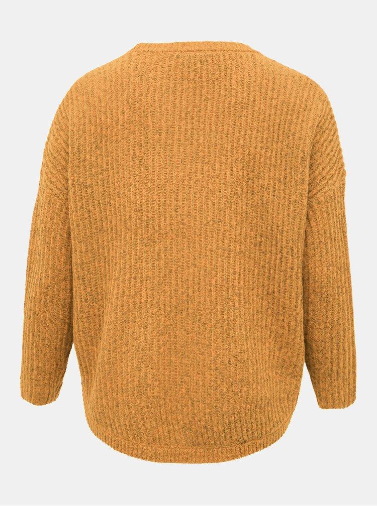 Horčicový sveter ONLY CARMAKOMA Berniel