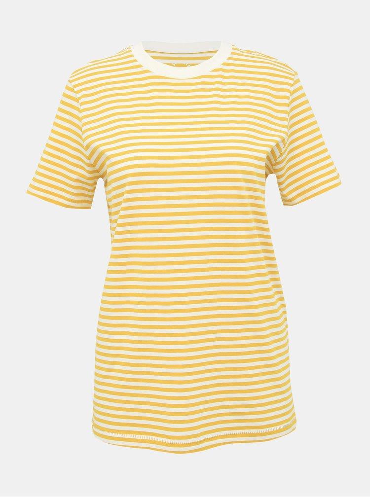 Horčicové pruhované basic tričko Selected Femme My Perfect