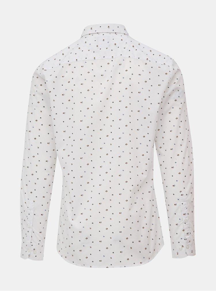 Bílá květovaná slim fit košile ONLY & SONS Flow