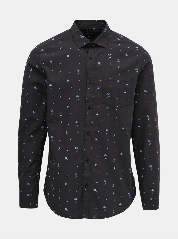 Tmavě šedá květovaná slim fit košile ONLY & SONS Flow
