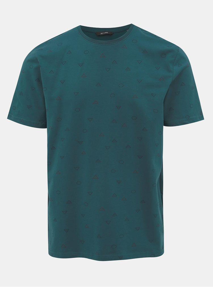 Tmavě modré vzorované tričko ONLY & SONS Elements