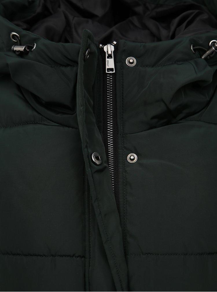 Tmavozelený prešívaný zimný kabát ONLY Tomine
