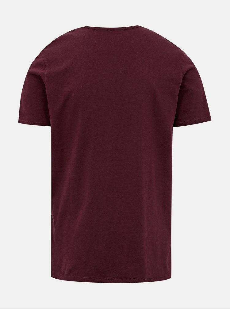 Vínové slim fit tričko Jack & Jones Gavin