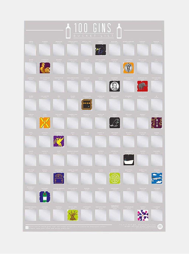 Šedý stírací plakát Gift Republic 100 Gins