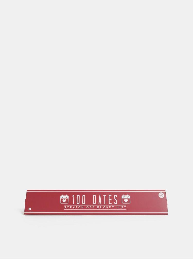Červený stírací plakát Gift Republic 100 míst na rande