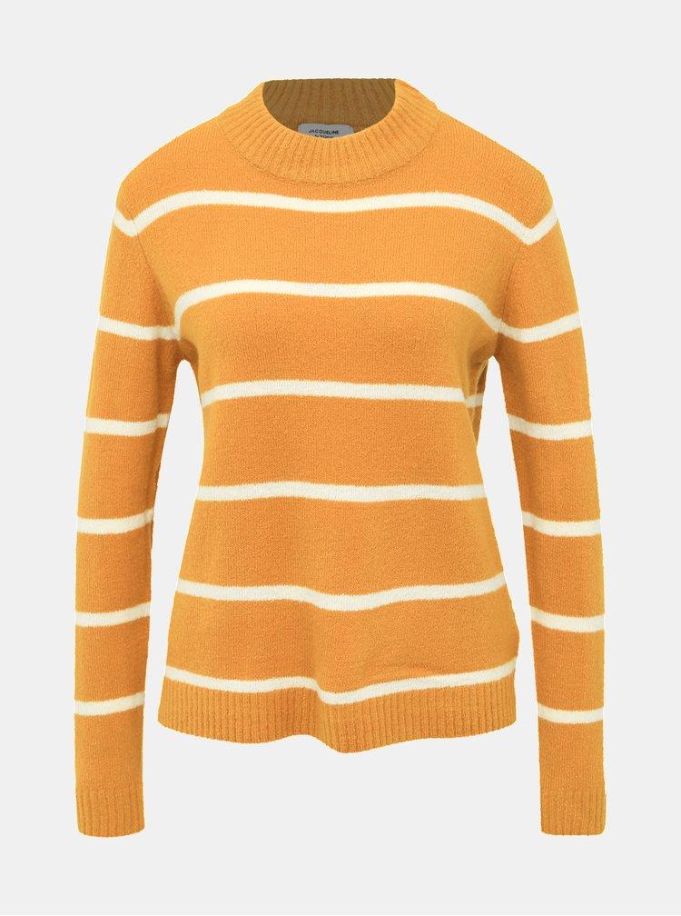 Horčicový pruhovaný sveter Jacqueline de Yong Blake