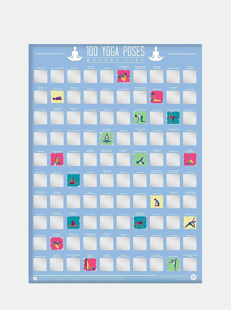 Modrý stírací plakát Gift Republic 100 joga pozic