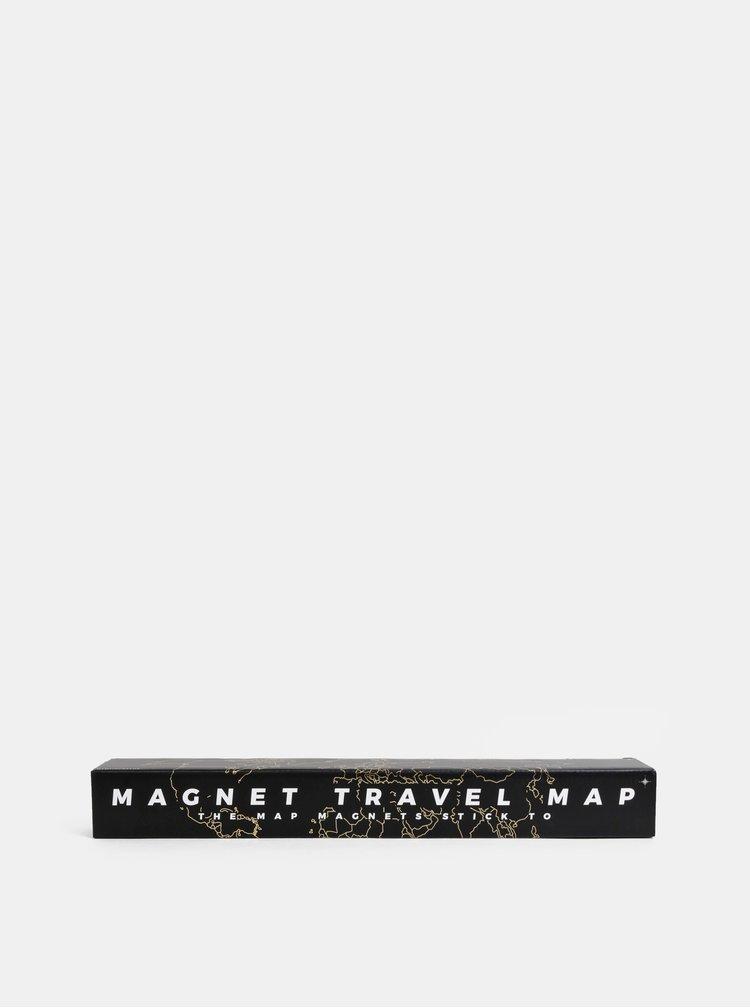 Černá magnetická mapa světa Gift Republic
