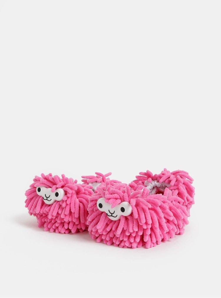 Rúžové čistiace papuče v tvare lamy Gift Republic