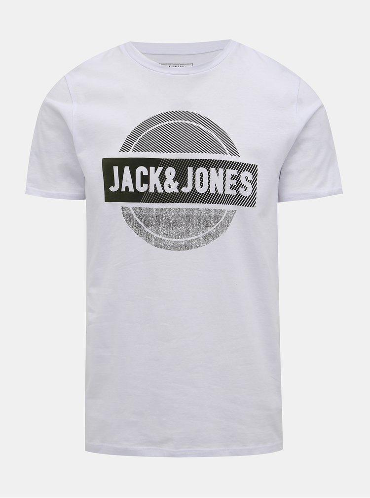 Biele tričko s potlačou Jack & Jones Booster