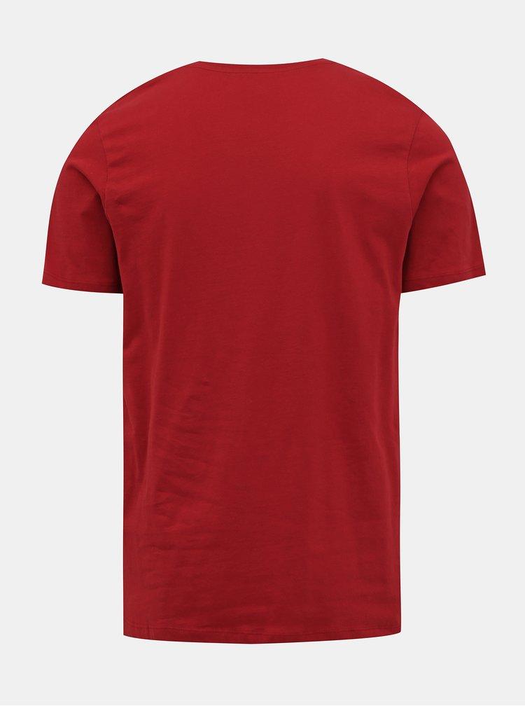 Červené tričko s potiskem Jack & Jones Booster
