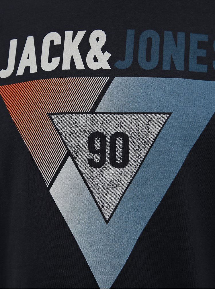 Tmavomodré tričko s potlačou Jack & Jones Booster
