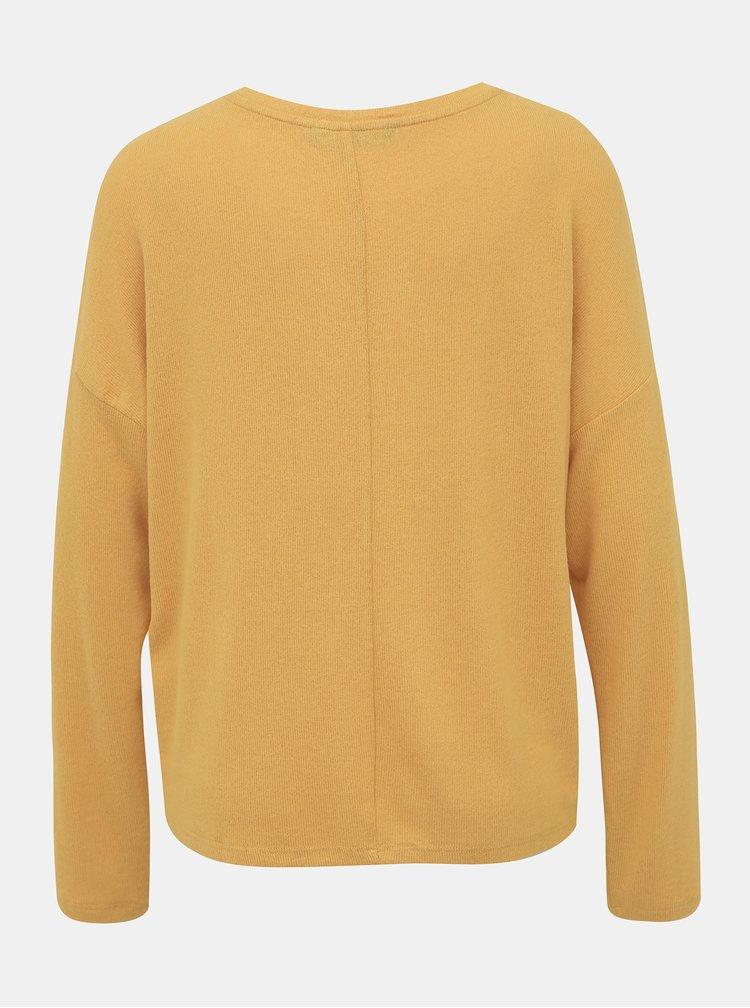 Horčicový basic sveter VERO MODA Belinda