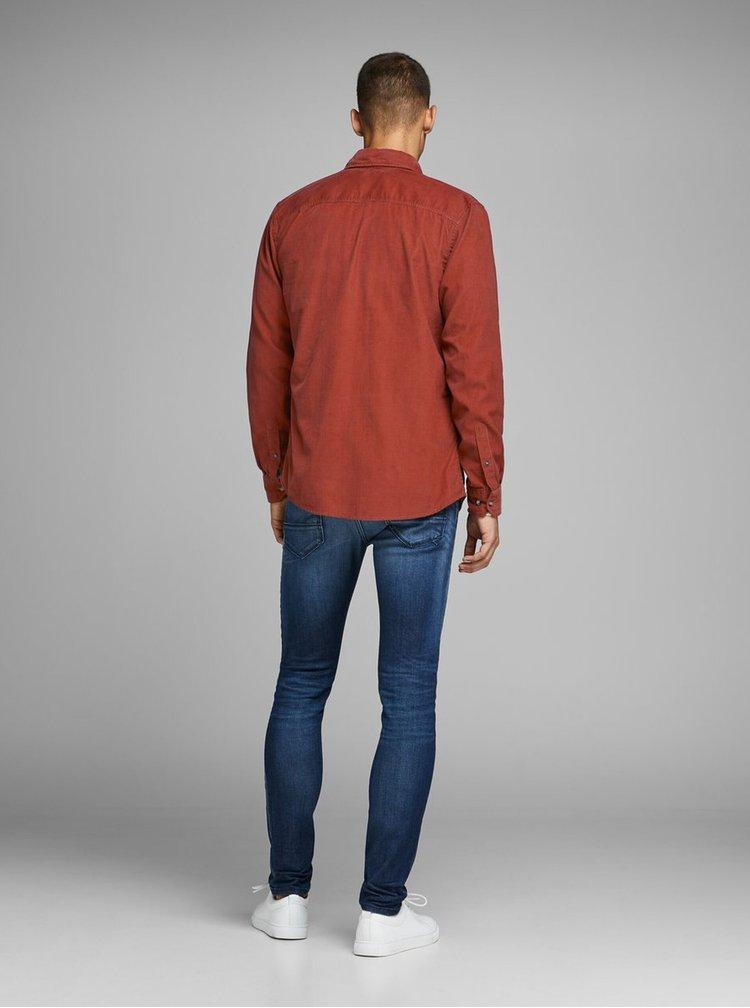 Červená menčestrová slim fit košeľa Jack & Jones Tray