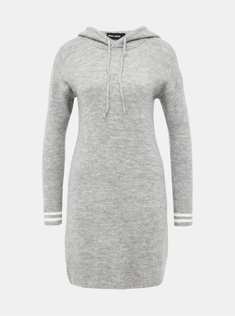 Světle šedé svetrové šaty TALLY WEiJL