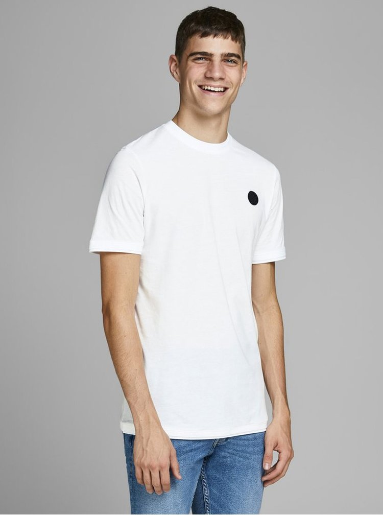 Bílé slim fit tričko Jack & Jones Booker