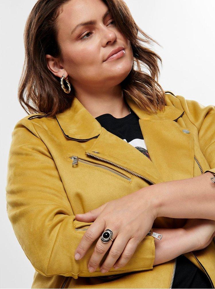 Žlutá bunda v semišové úpravě ONLY CARMAKOMA Carsherry