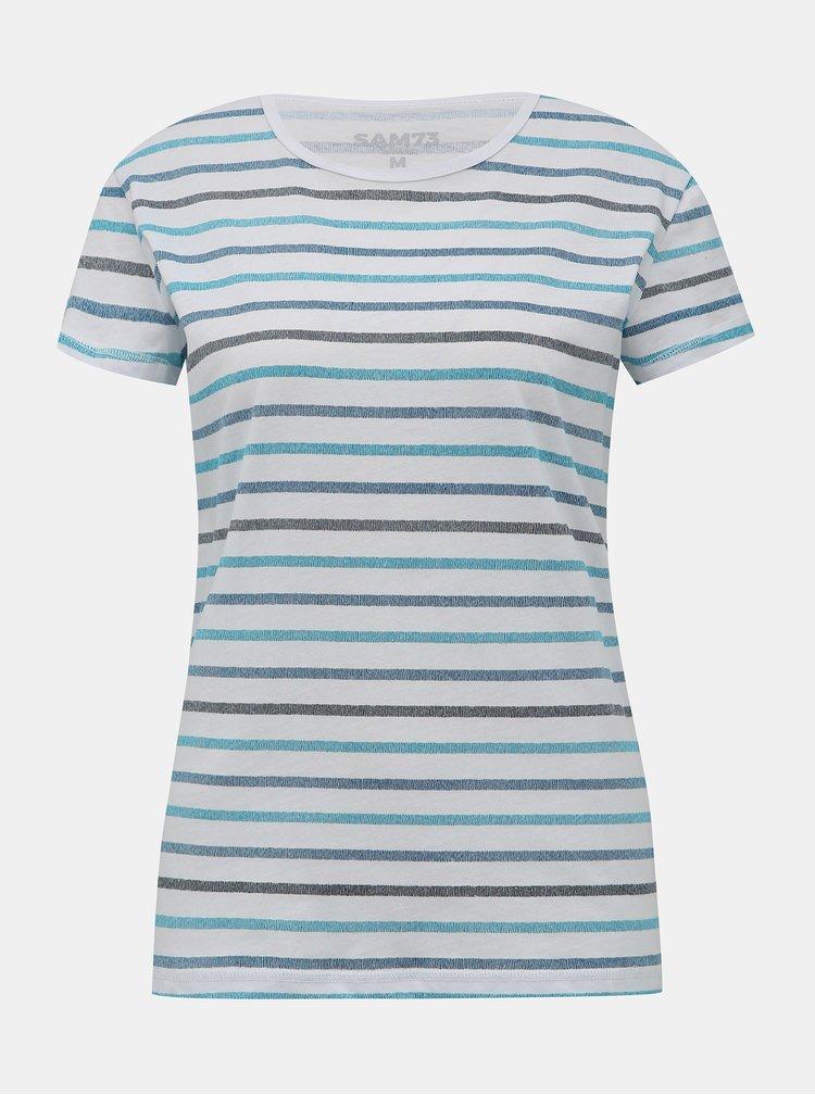 Modro-biele dámske pruhované tričko SAM 73