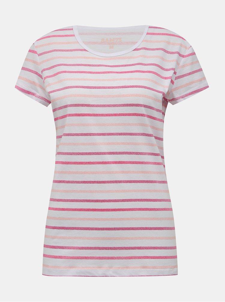 Rúžovo-biele dámske pruhované tričko SAM 73