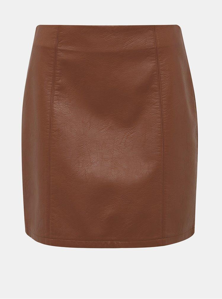 Hnedá koženková minisukňa Dorothy Perkins Seam