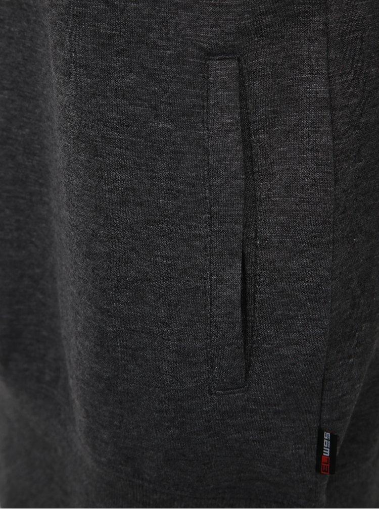 Tmavě šedá dámská dlouhá mikina s lampasem SAM 73