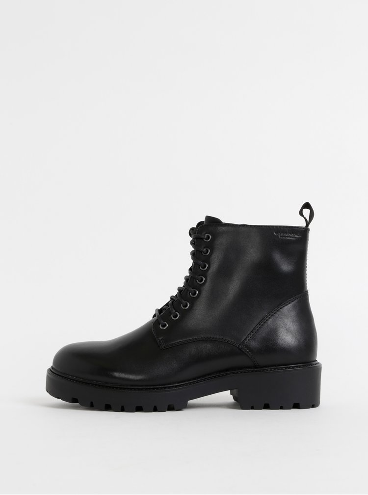 Černé kožené kotníkové boty Vagabond Kenova
