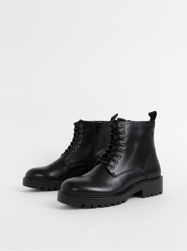Čierne kožené členkové topánky Vagabond Kenova