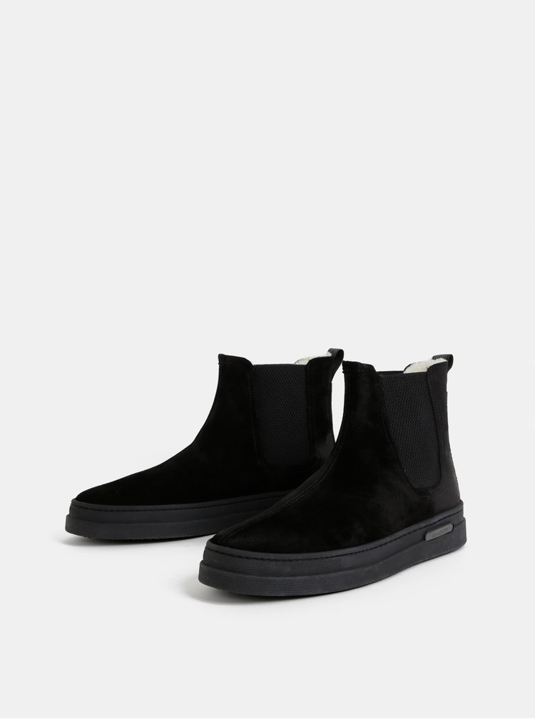Čierne pánske semišové zimné chelsea topánky s vlnenou podšívkou GANT Creek