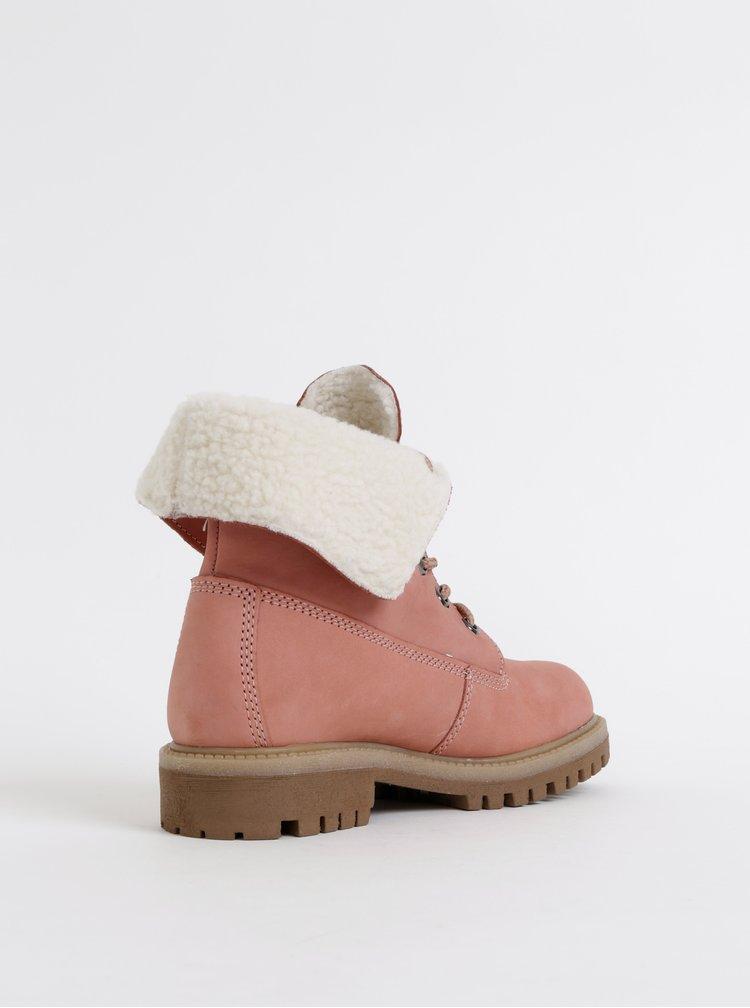 Rúžové dámske kožené členkové zimné topánky Tom Tailor