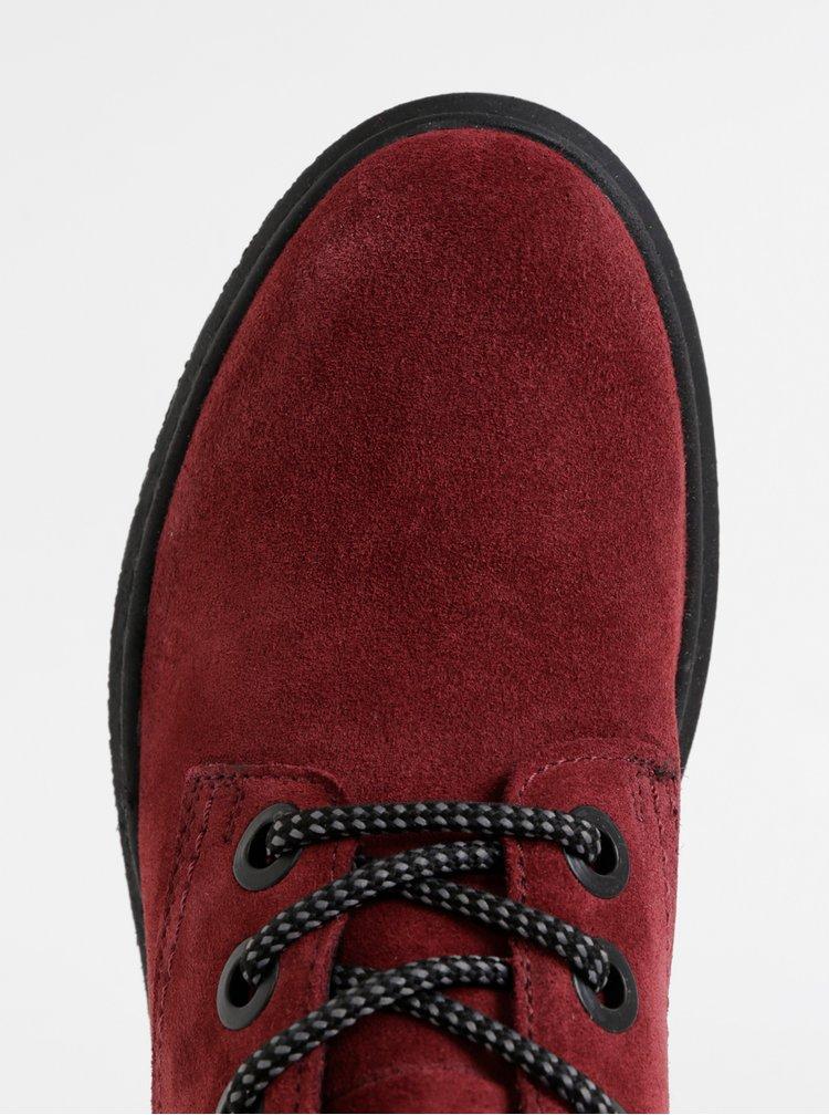 Vínové dámske semišové členkové topánky Tom Tailor
