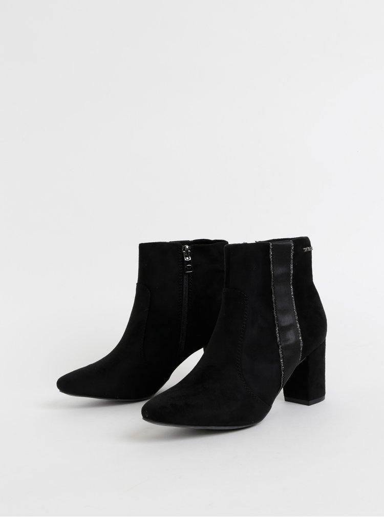 Černé dámské kotníkové boty v semišové úpravě Tom Tailor