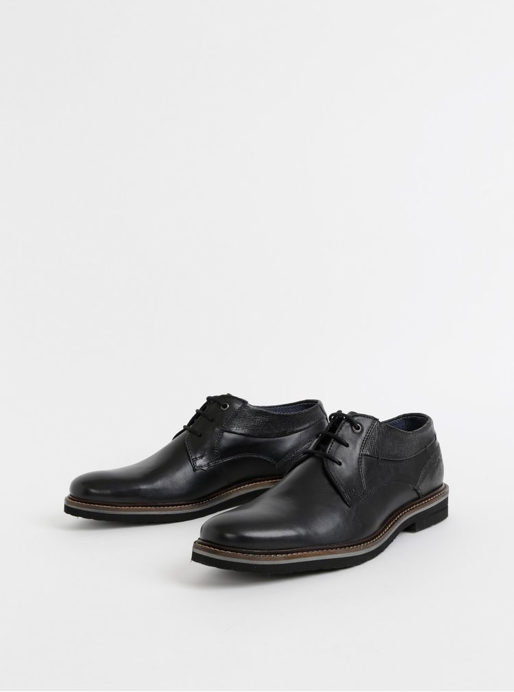 Černé pánské kožené polobotky Tom Tailor