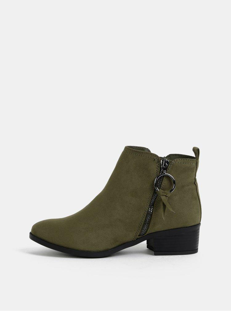 Khaki kotníkové boty v semišové úpravě Dorothy Perkins
