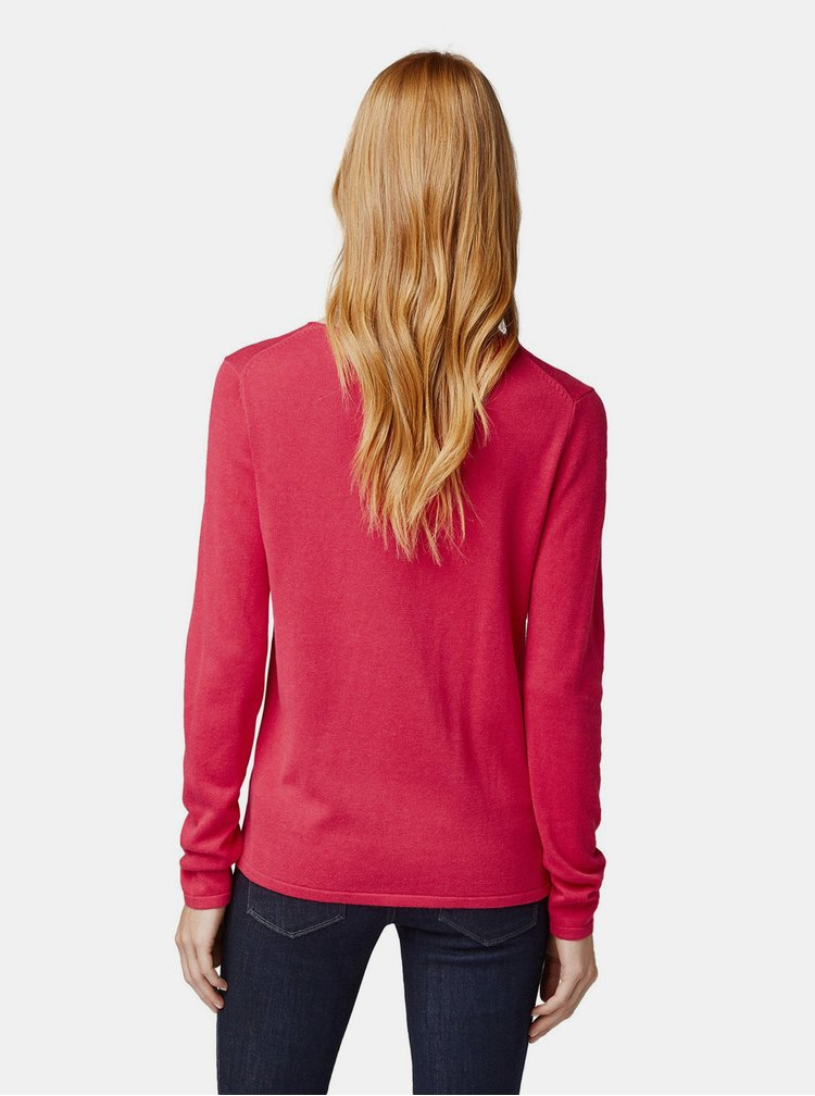 Tmavoružový dámsky basic sveter Tom Tailor