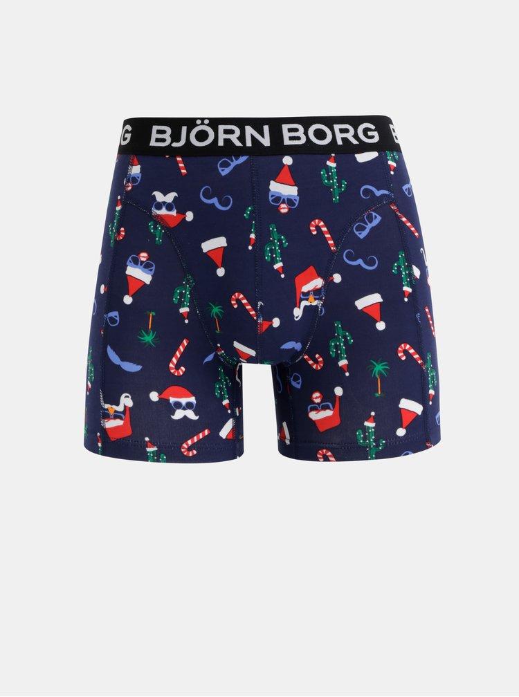 Sada dvou boxerek s vánočním motivem v červené a modré barvě Björn Borg