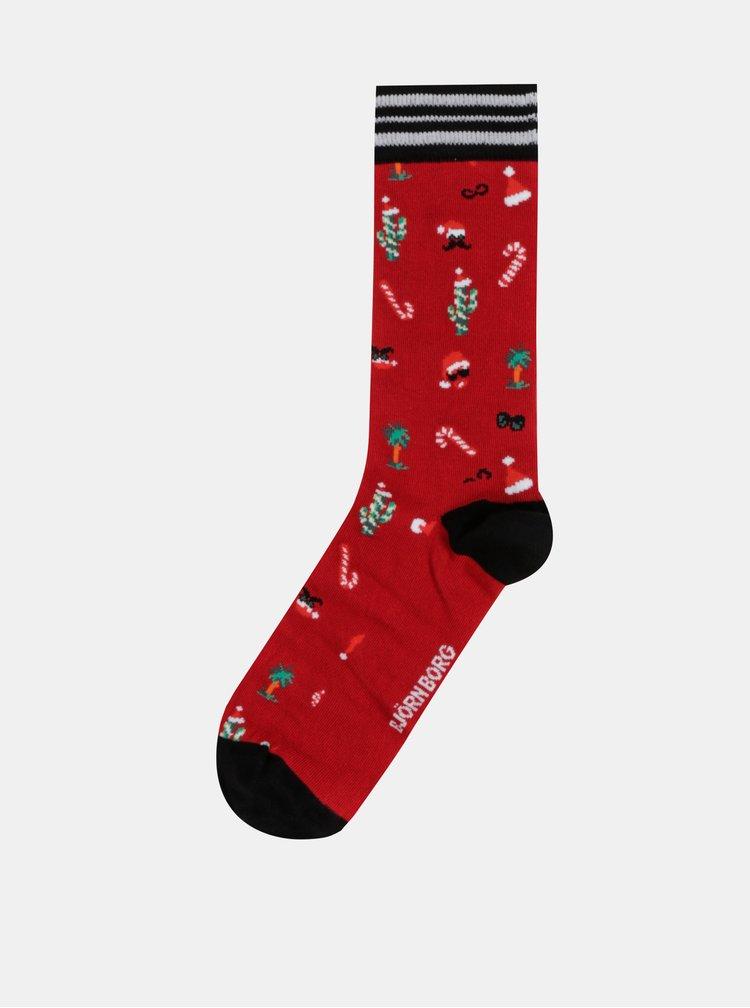Sada tří páru ponožek s vánočním motivem v červené, zelené a černé barvě Björn Borg