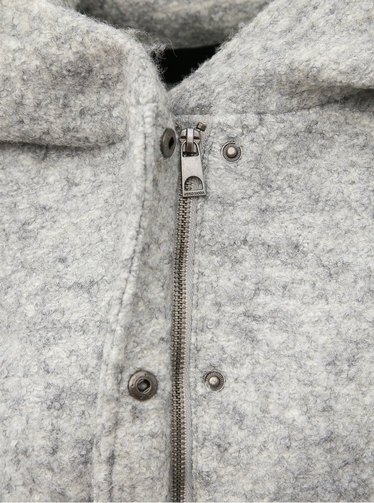 Světle šedý kabát s příměsí vlny VERO MODA Verodona