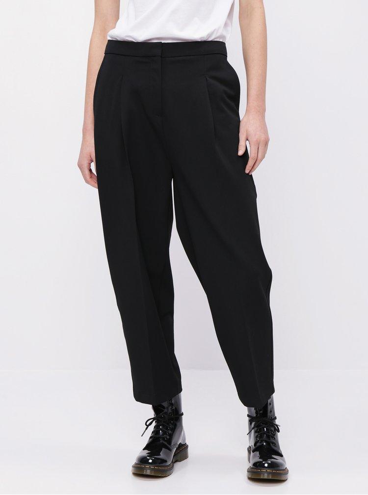 Černé zkrácené kalhoty Selected Femme Hia