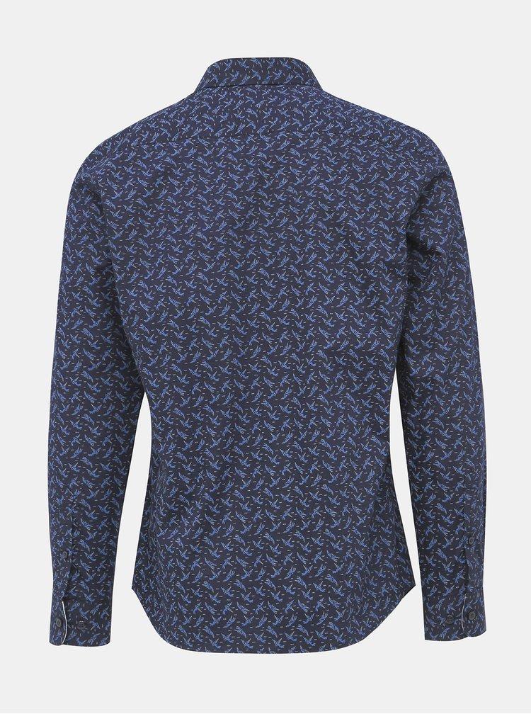 Tmavě modrá vzorovaná slim fit košile Selected Homme New Mark