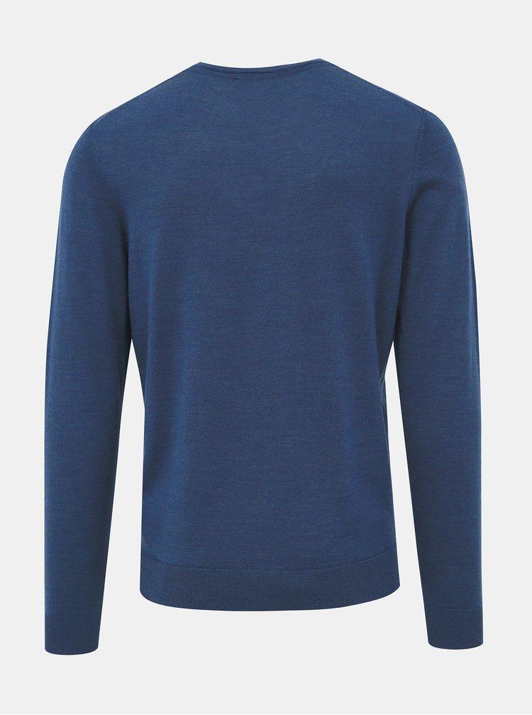Modrý vlnený basic sveter Selected Homme Tower
