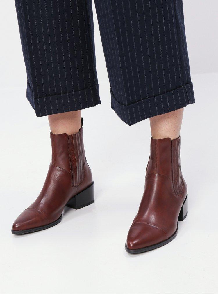 Tmavohnedé dámske kožené chelsea topánky Vagabond Marja