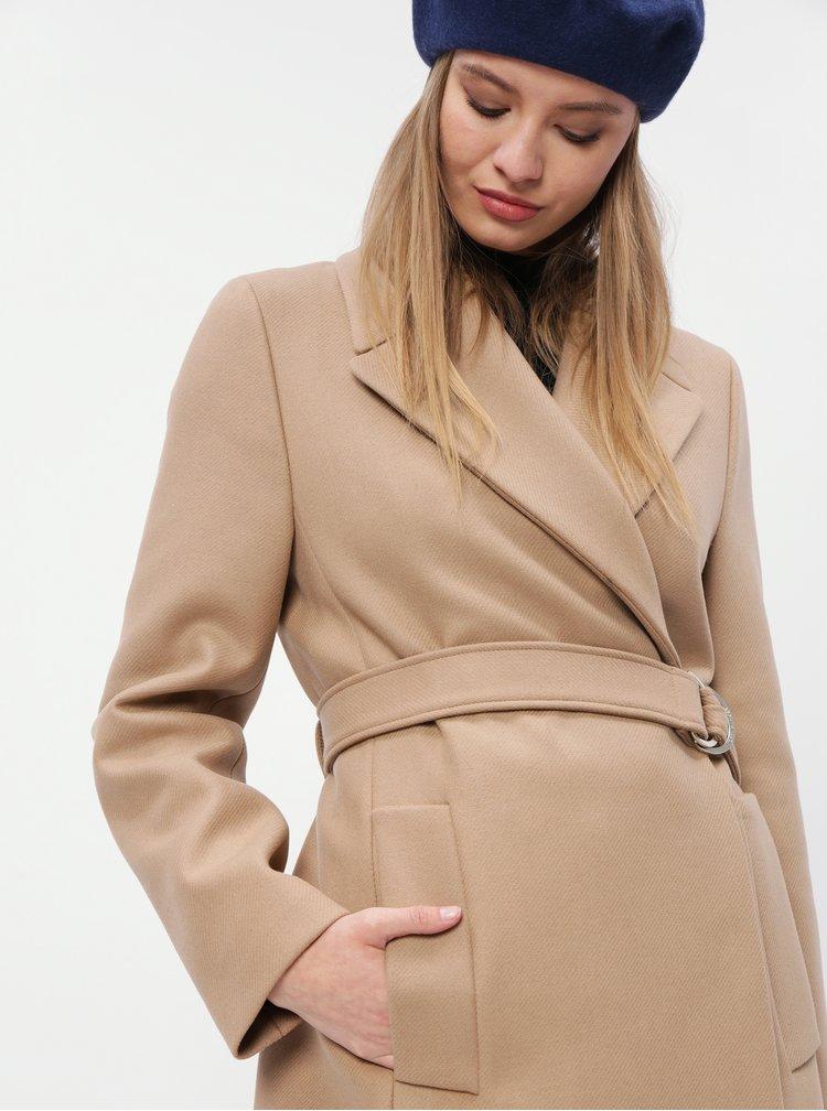 Světle hnědý dámský vlněný kabát Tommy Hilfiger Belle
