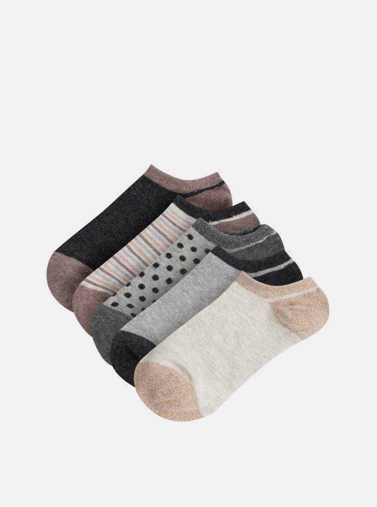 Sada piatich párov ponožiek v šedej a béžovej farbe TALLY WEiJL