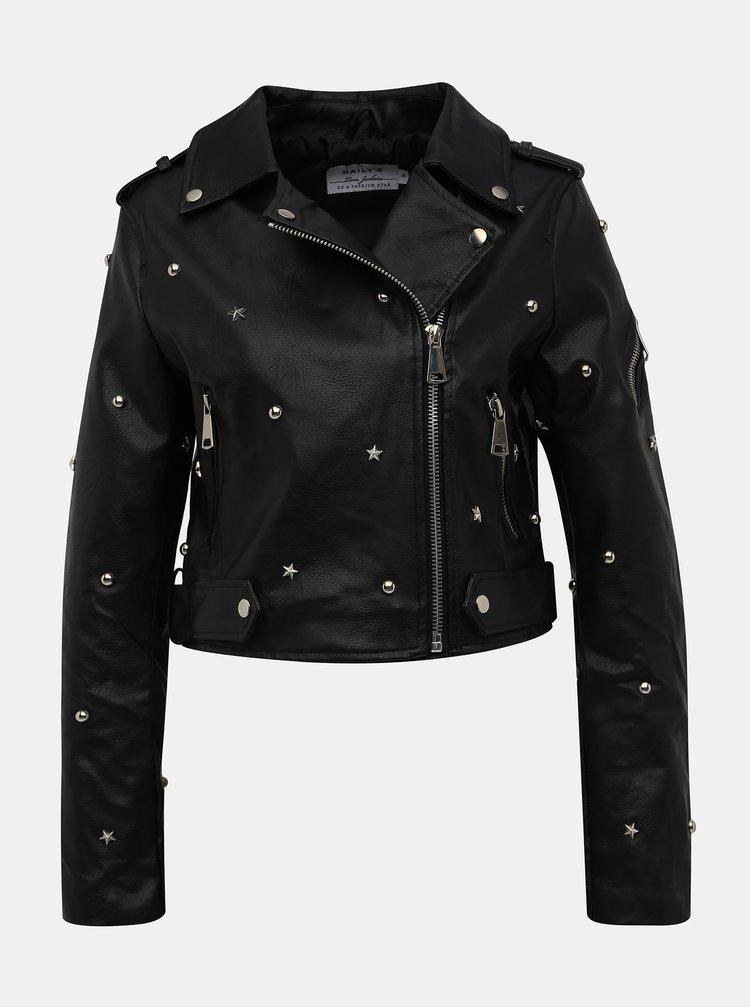 Čierna dámska koženková bunda Haily´s Rocky