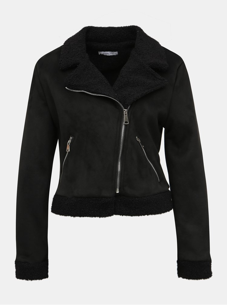 Čierna bunda v semišovej úprave Haily´s Mina
