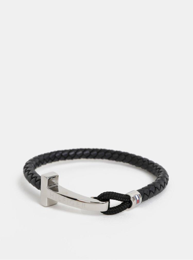 Černý pánský kožený náramek Tommy Hilfiger
