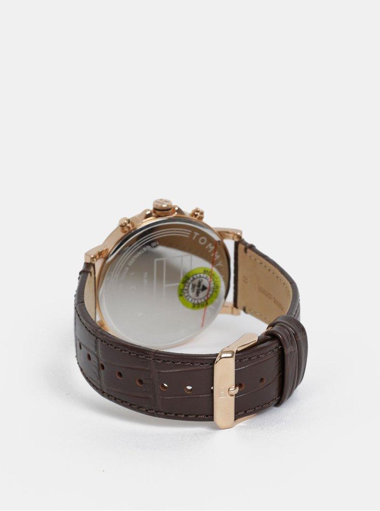 Pánské hodinky s tmavě hnědým koženým páskem Tommy Hilfiger