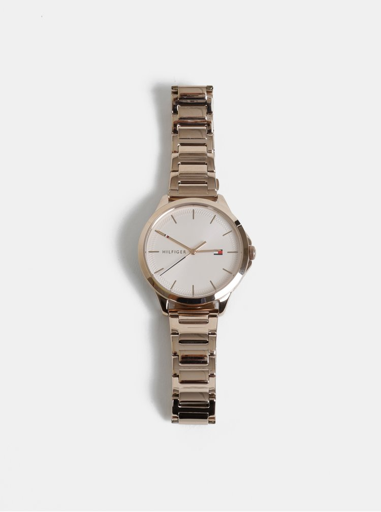 Dámske hodinky s nerezovým remienkom v ružovozlatej farbe Tommy Hilfiger