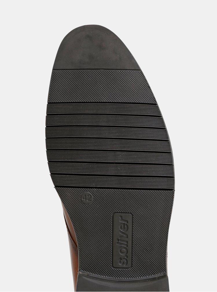 Hnedé pánske kožené členkové topánky s.Oliver