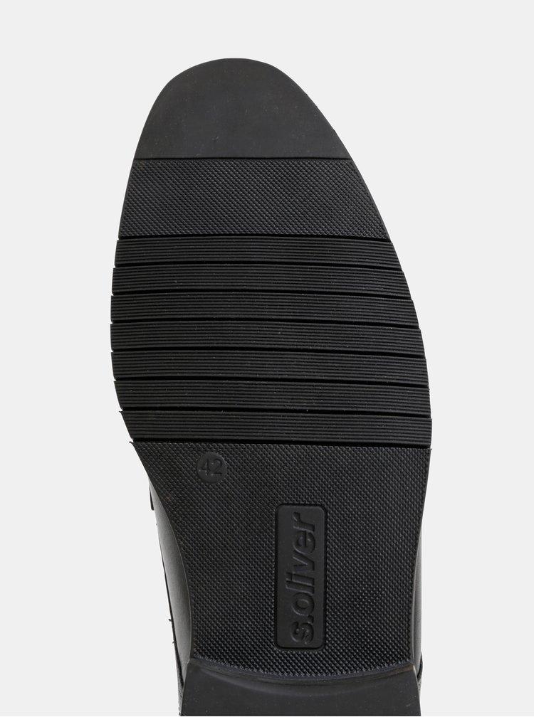 Černé pánské kožené polobotky s.Oliver